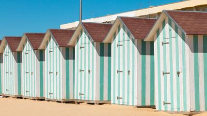 beach huts at the end of the summer season