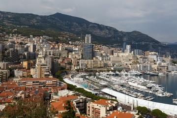 Le port Hercule et la Condamine vus des hauteurs du rocher de Monaco