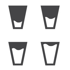 Filling black glasses of water set. Flat icons set. Vector illustration