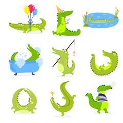 Vector set with cute cartoon crocodiles.