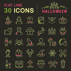Set Vector Flat Line Icons Halloween