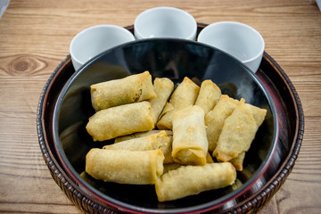 spring rolls and asian setting