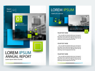 Brochure Template flyer  design of annual report with Green squares and blue in layout size A4 , Vector illustration