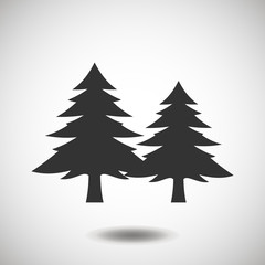 Fir-tree black icon, silhouette and vector logo. Flat isolated element. Nature sign and symbol.