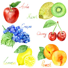 Watercolor fruits;pattern, healthy food; diet products.