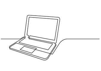 continuous line drawing of laptop computer
