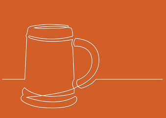 continuous line drawing of mug of beer