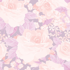 Floral seamless pattern. Flower rose pastel retro  background. Floral tile ornament