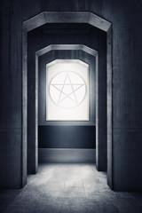 White pentagram symbol on the windows