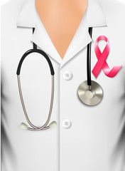 Doctor in a coat with a breast cancer awareness ribbon. Vector.