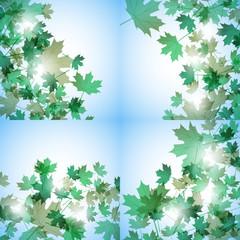 Illustration autumn motif. Maple leaves. Vector background