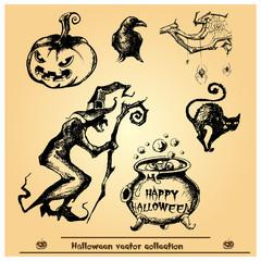 Halloween vector collection.Hand drawn illustration