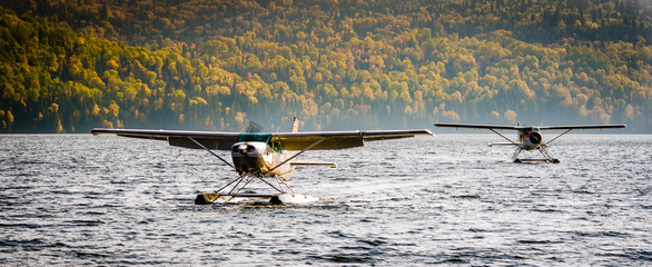 Two seaplanes at fall