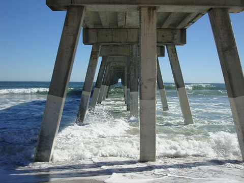 under the pier at wrightsville beach in wilmington, NC