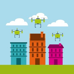 cityscape buildings with drones flying vector illustration design