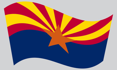 Flag of Arizona waving on gray background