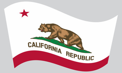 Flag of California waving on gray background