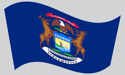 Flag of Michigan waving on gray background