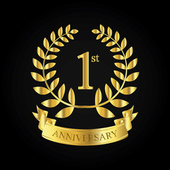 1st golden anniversary logo, first celebration with ribbon