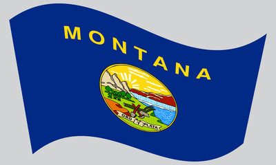 Flag of Montana waving on gray background