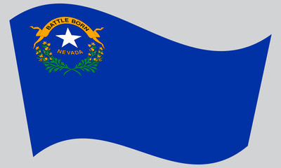 Flag of Nevada waving on gray background