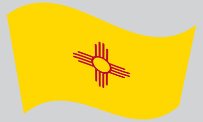 Flag of New Mexico waving on gray background