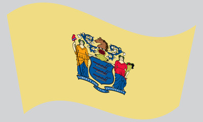 Flag of New Jersey waving on gray background