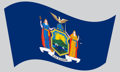 Flag of New York state waving on gray background
