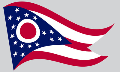 Flag of Ohio waving on gray background