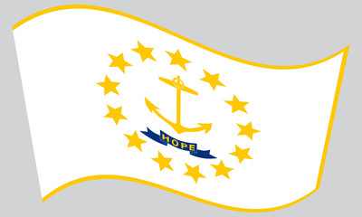 Flag of Rhode Island waving on gray background