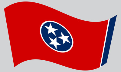 Flag of Tennessee waving on gray background