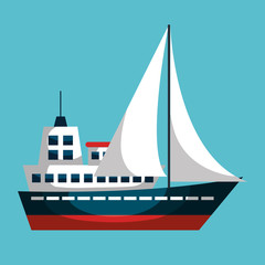 sailboat ship isolated icon vector illustration design