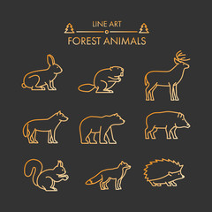 Vector line forest animals icon set.