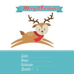 merry christmas reindeer decoration card vector illustration design