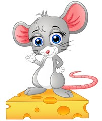 Cute mouse standing above a cheese