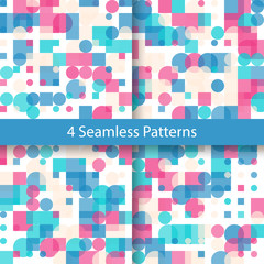 Seamless Geometric Color Pattern Collection. Set of Repetitive Textures. Modern Ornaments with Transparent Circles and Squares. Abstract Vector Backgrounds