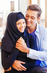 muslim couple in love at home