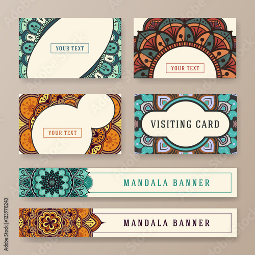 multipurpose banner and card template with ethnic abstract drawings