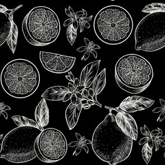 Lemons  and flowers. Vector seamless pattern