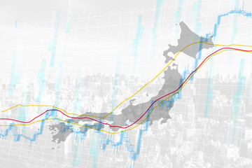 japan stock market background white