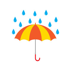 Umbrella and rain drops vector