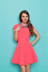 Cheerful Elegant Woman In Pink Dress