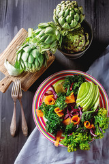 Fresh vegetarian salad with cabbage kale broccoli carrot egg avo