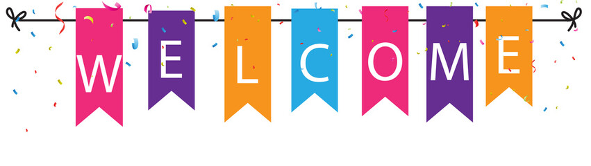 Welcome sign with colorful bunting flags and confetti