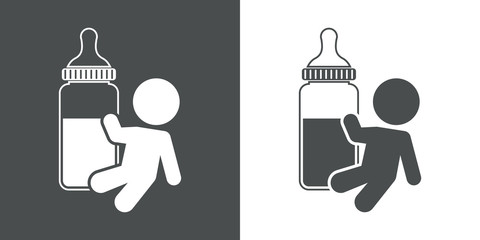 Icono plano bebé con biberon gris