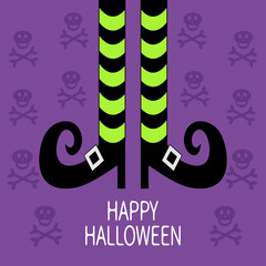 Witch legs with striped socks and shoes. Happy Halloween. Greeting card. Flat design. Violet skull crossbones background