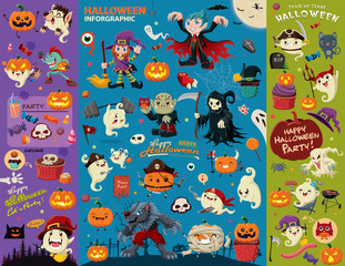 Vintage Halloween poster design set with vector vampire, witch, mummy, wolf man, ghost, reaper, zombie, pirate character.