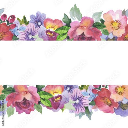 wildflower rose flower frame in a watercolor style isolated full rh eu fotolia com Flower Corner Clip Art Wedding Flower Borders Clip Art