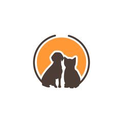 Circle Moon Dog Cat Pet Shop Care Clinic Sticker Logo