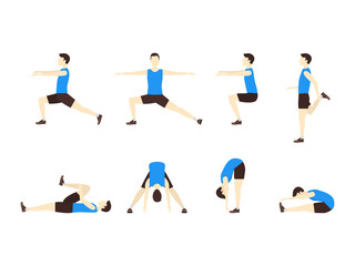 Stretching Exercise Set with Man Flat. Vector